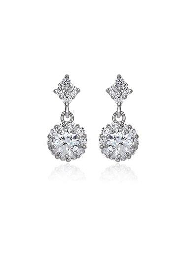Tophills Diamond Co. 1,20 Ct Pırlanta Efekt Altın Rosary Küpe Renkli